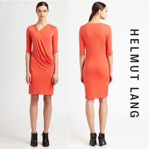 Helmut Lang Feather Draped Jersey Dress
